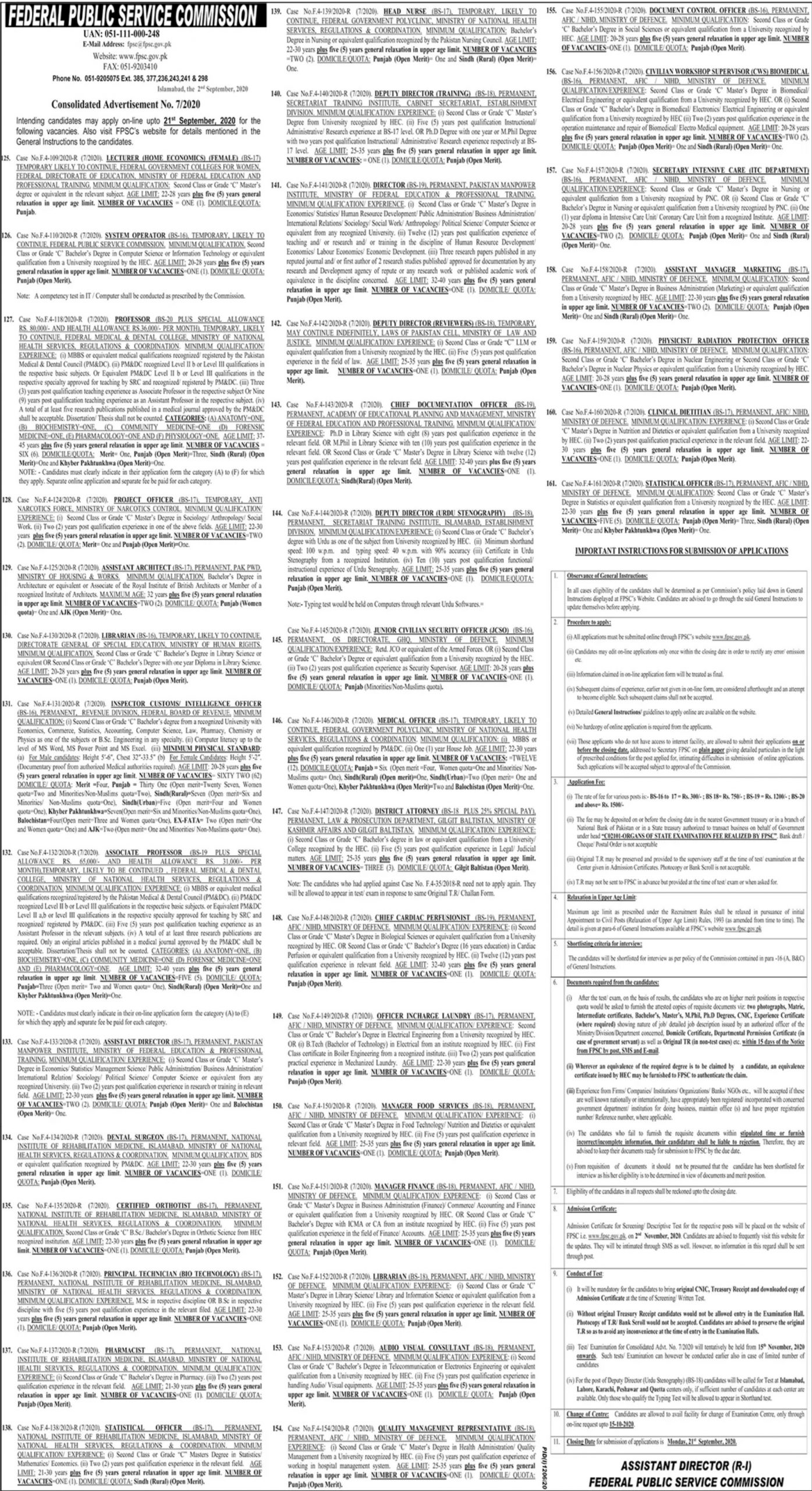 FPSC Jobs September 2020 Federal Public Service Commission