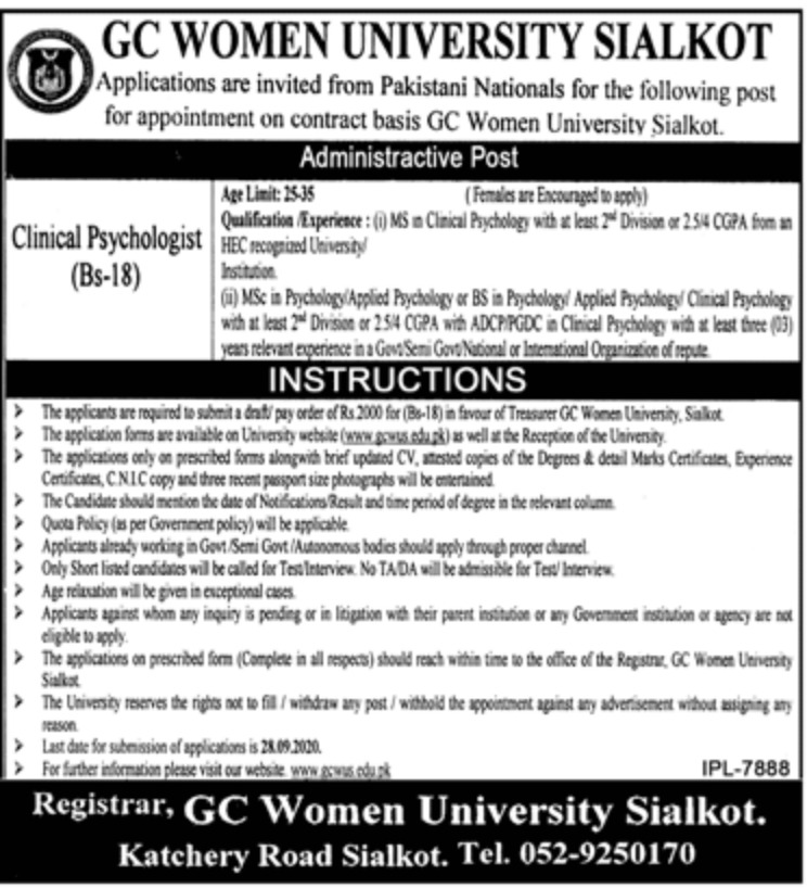 GC Women University Sialkot Jobs September 2020
