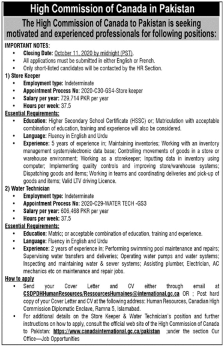 High Commission of Canada in Pakistan Jobs September 2020