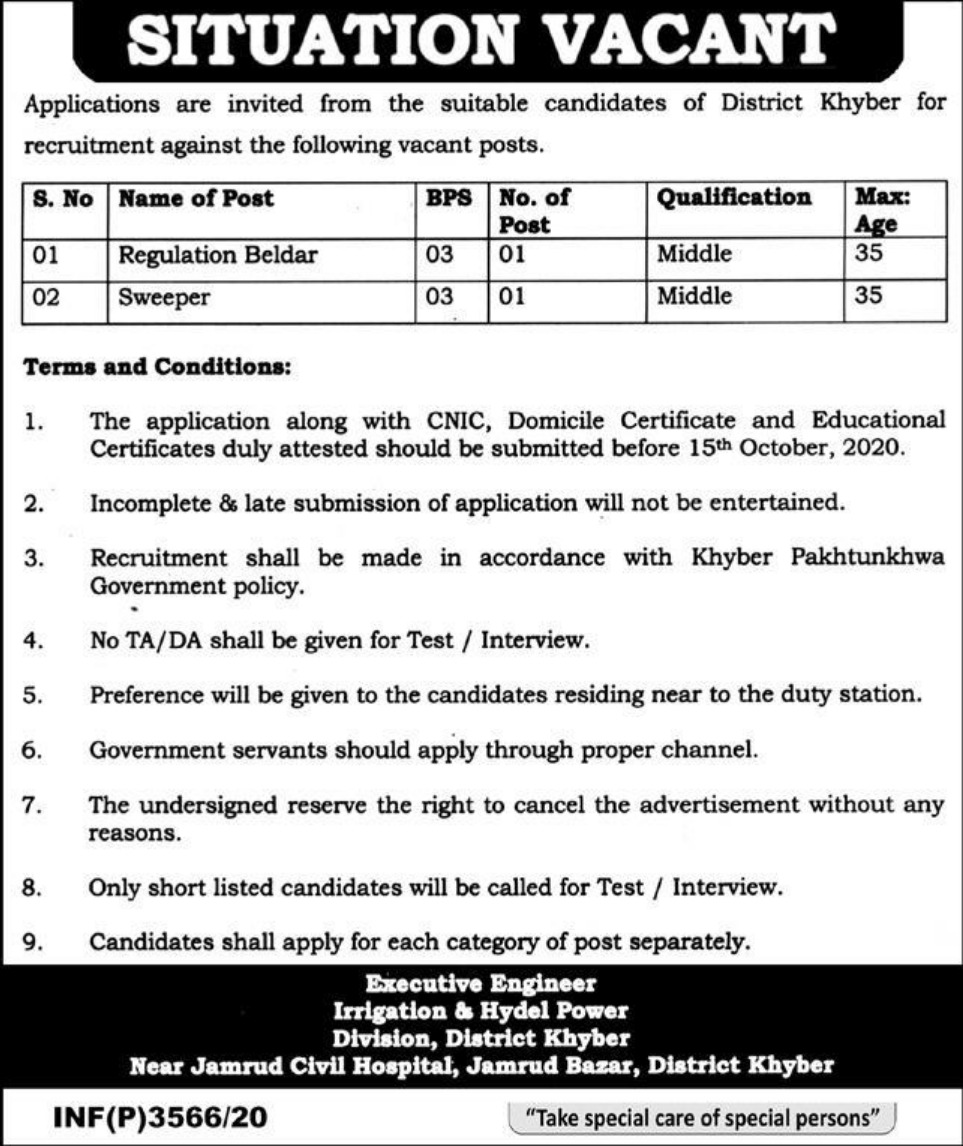 Irrigation & Hydel Power Division Khyber KPK Jobs September 2020