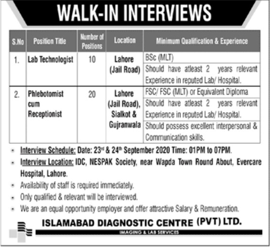 Islamabad Diagnostic Centre Pvt Ltd Jobs September 2020
