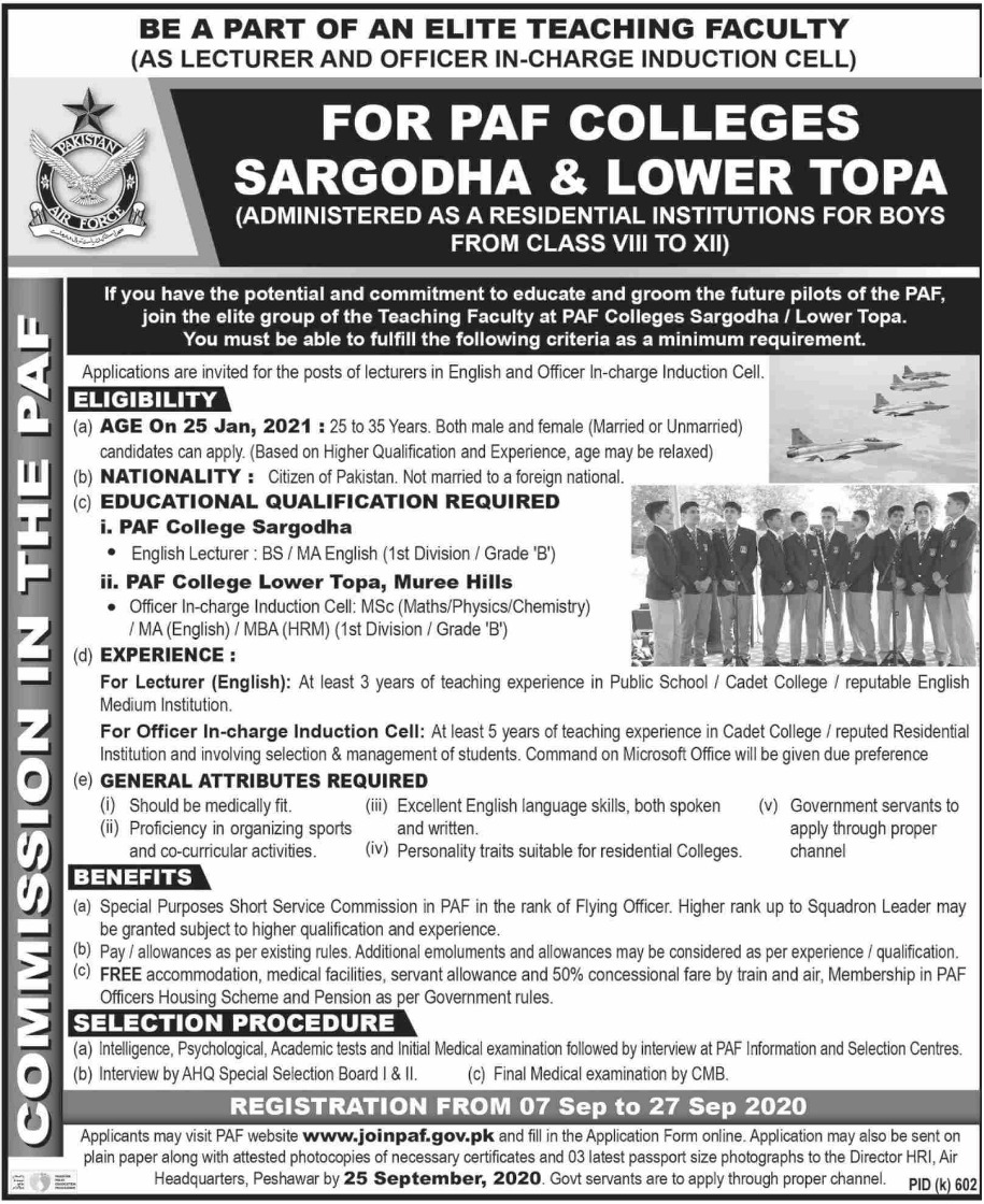 Join PAF Colleges Sargodha & Lower Topa September 2020