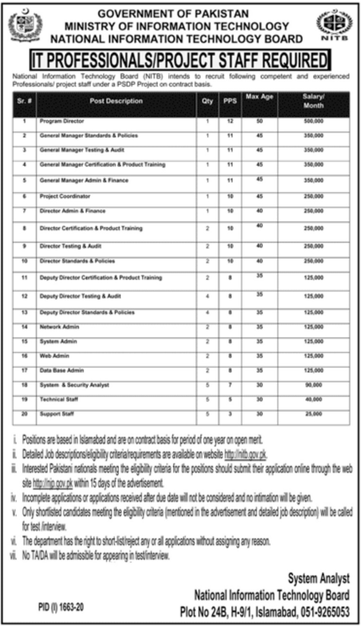 Ministry of Information Technology NITB Jobs September 2020
