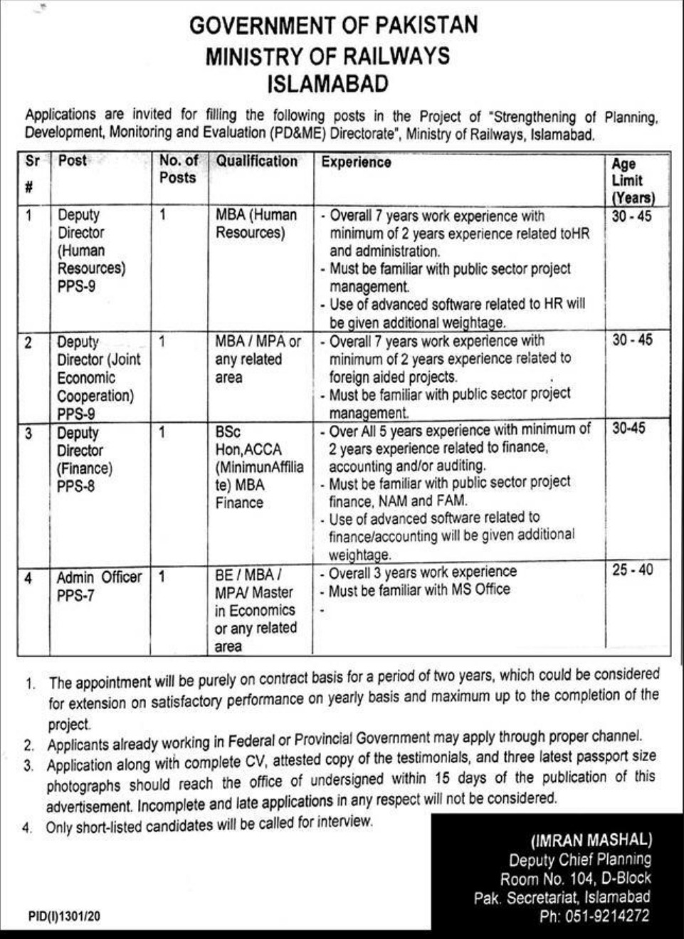 Ministry of Railways Islamabad Jobs September 2020