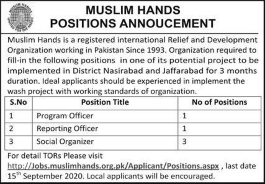 Muslim Hands NGO Jobs September 2020