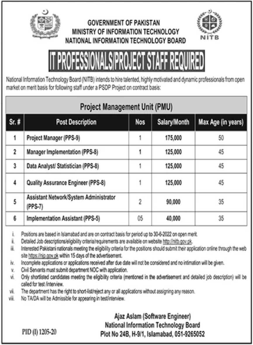 National Information Technology Board NITB Jobs September 2020