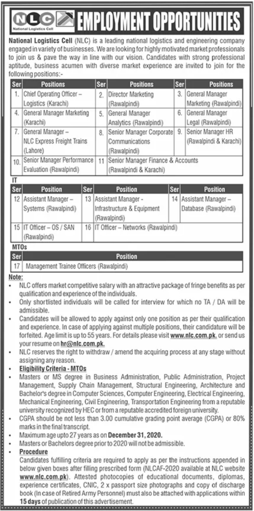 National Logistics Cell NLC Jobs September 2020