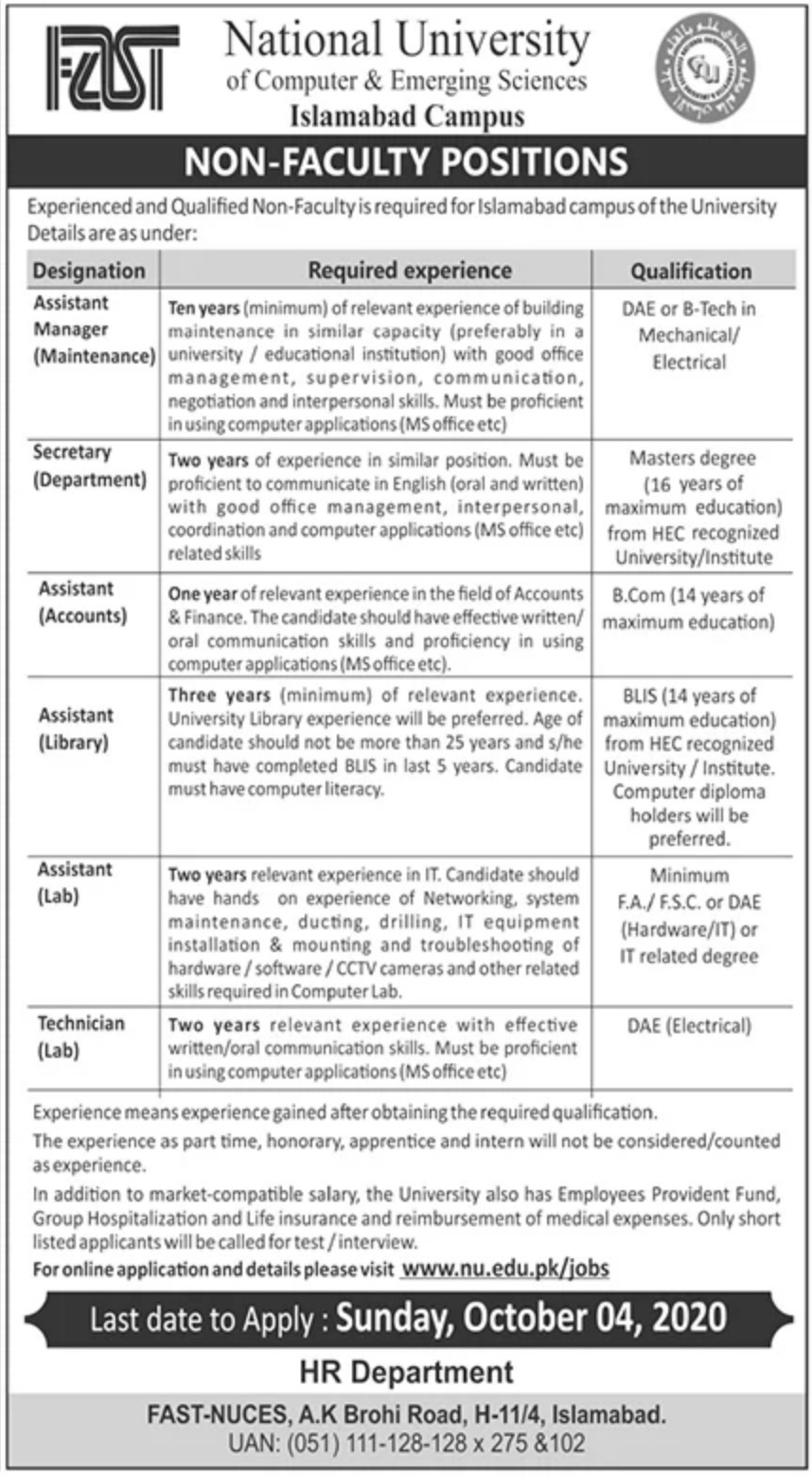 National University of Computer & Emerging Sciences Islamabad Jobs September 2020