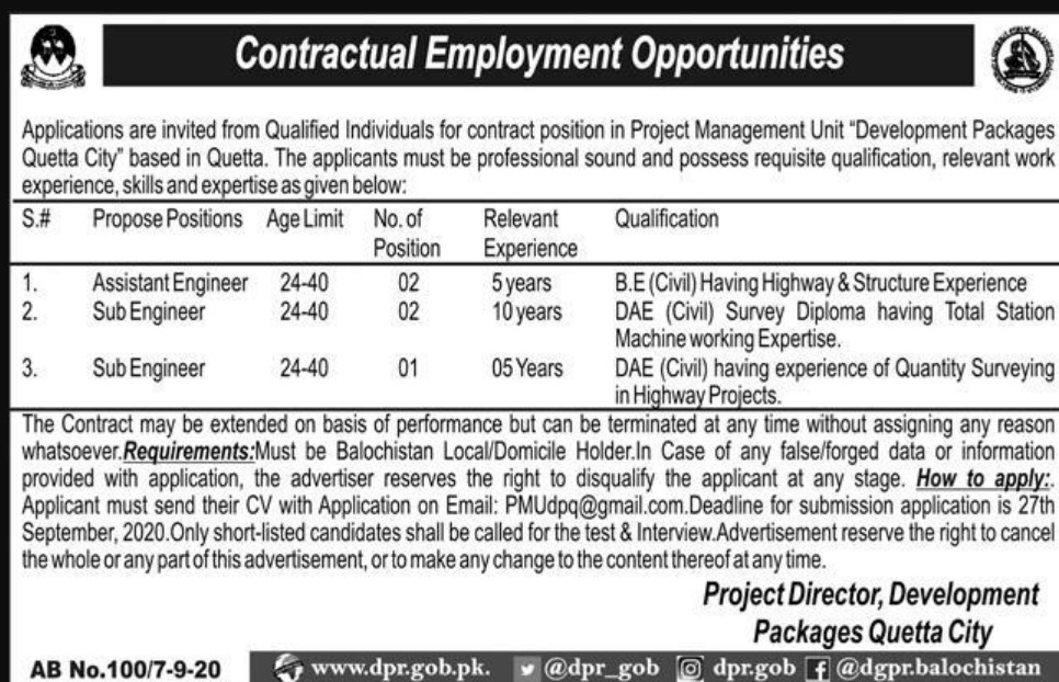PMU Development Packages Quetta City Jobs September 2020