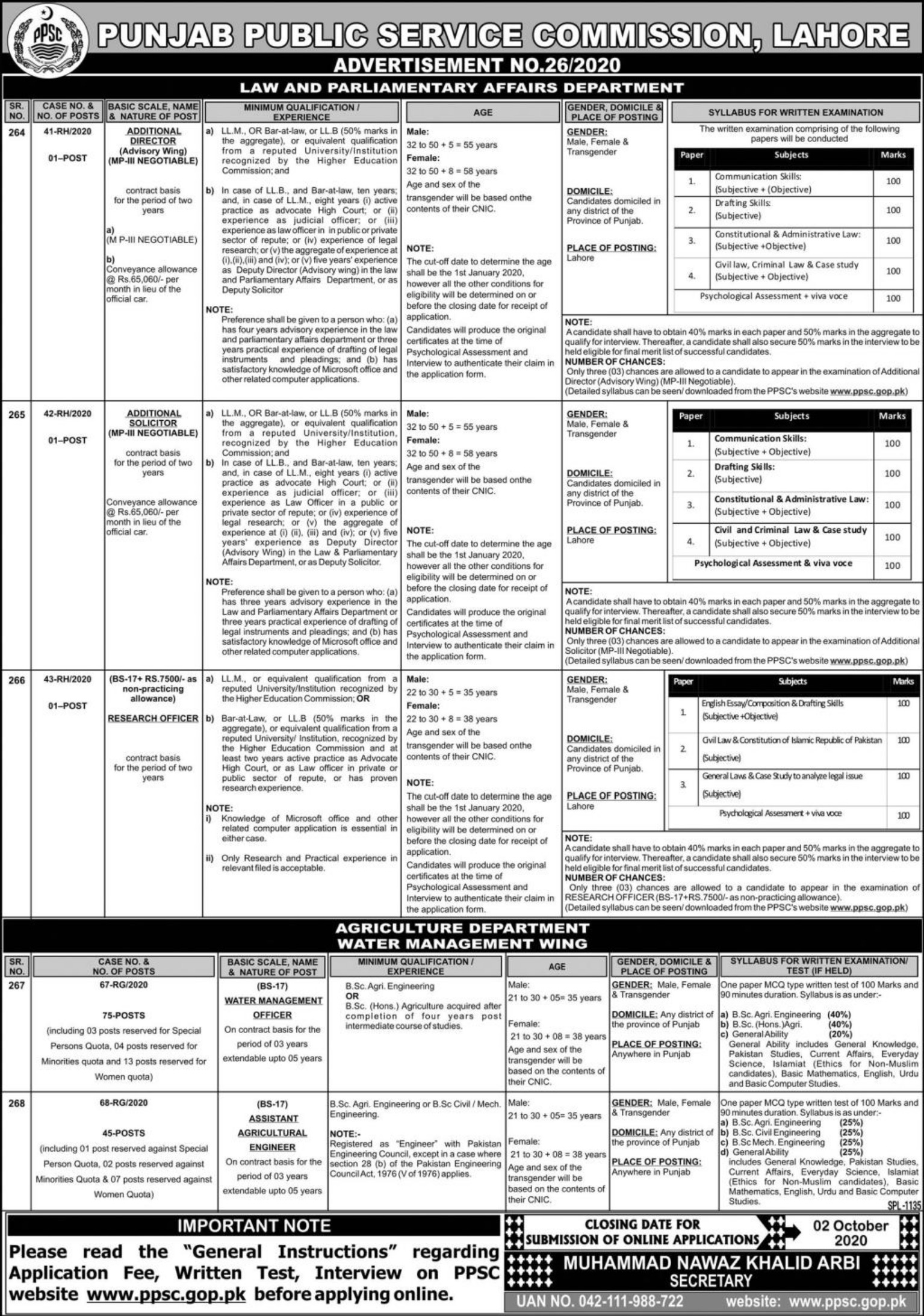 PPSC Jobs September 2020 Latest