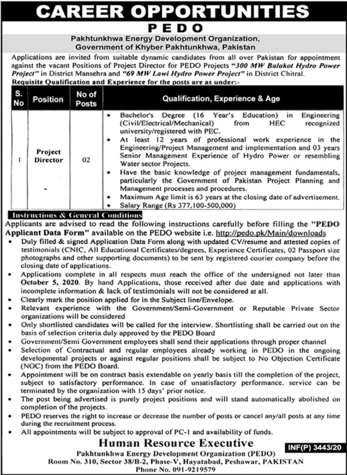Pakhtunkhwa Energy Development Organization PEDO Jobs September 2020