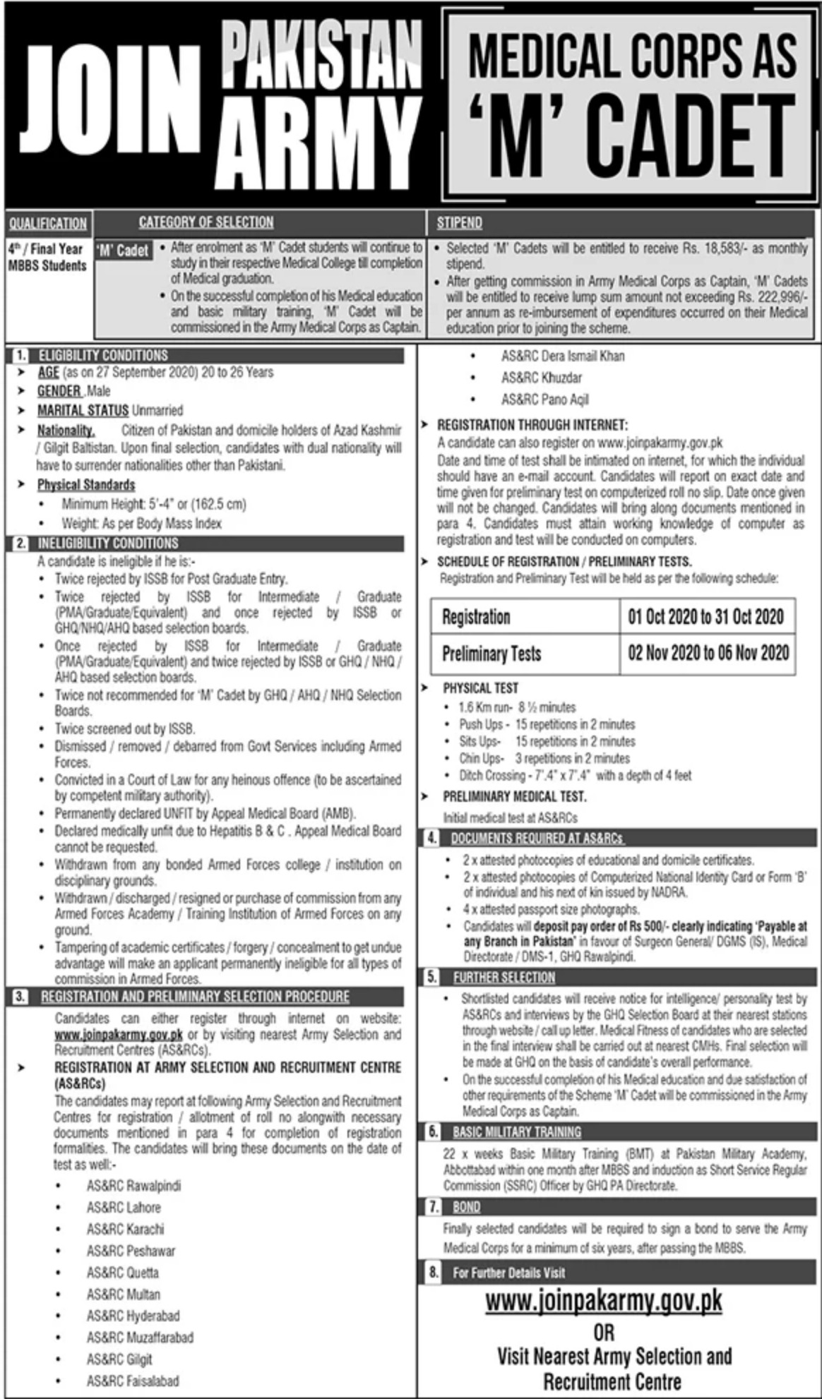 Pakistan Army Medical Corps Jobs as M Cadet September 2020