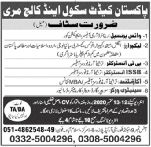 Pakistan Cadet School & College Murree Jobs September 2020