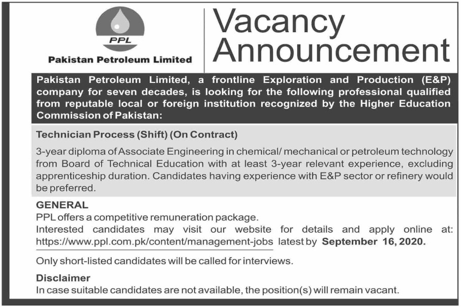 Pakistan Petroleum Limited Jobs September 2020