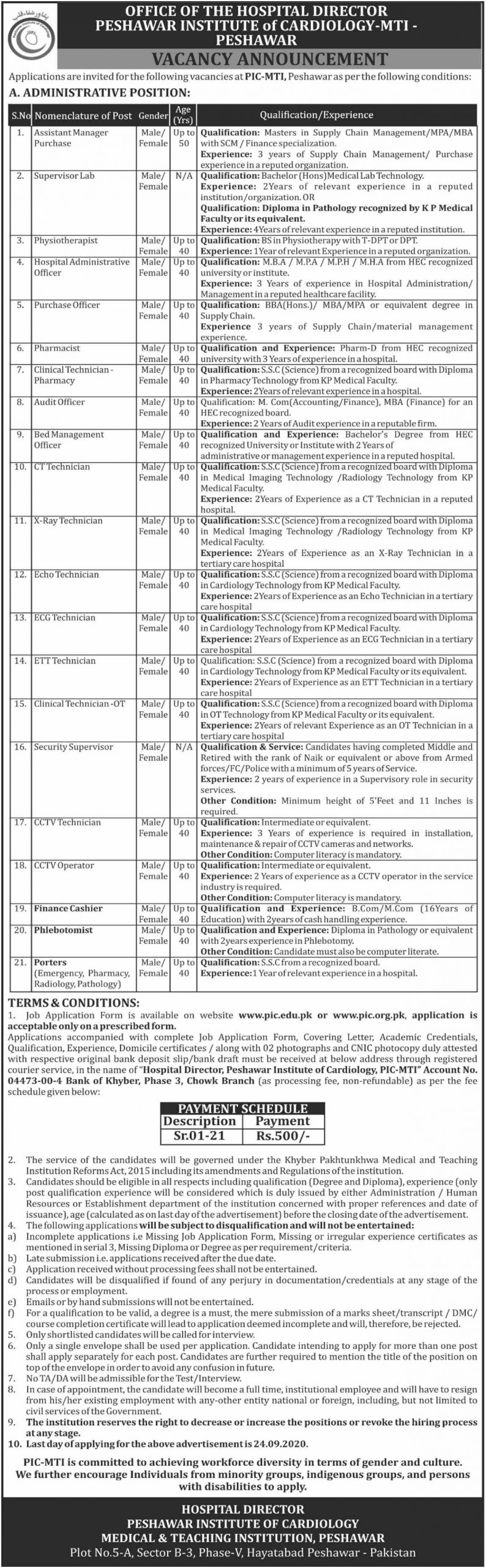 Peshawar Institute of Cardiology MTI Jobs September 2020