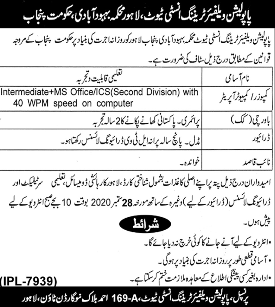 Population Welfare Training Institute Lahore Jobs September 2020Population Welfare Training Institute Lahore Jobs September 2020