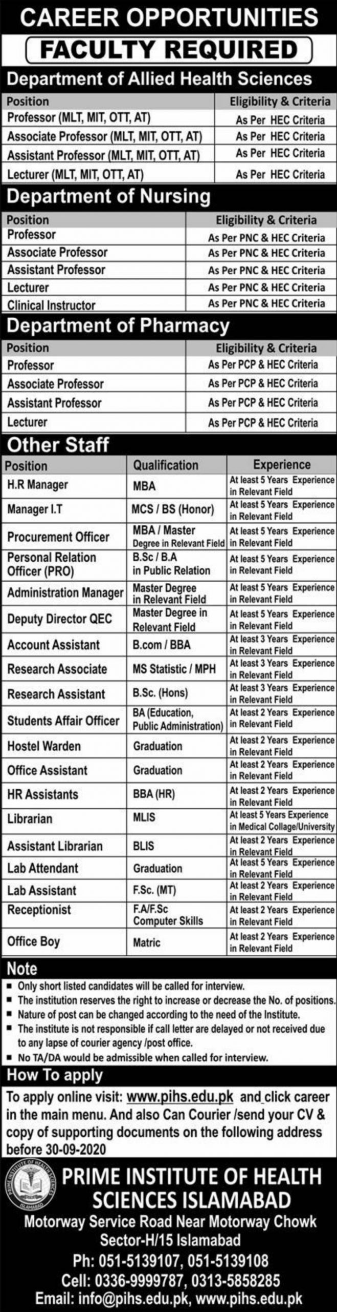 Prime Institute of Health Sciences Islamabad Jobs September 2020
