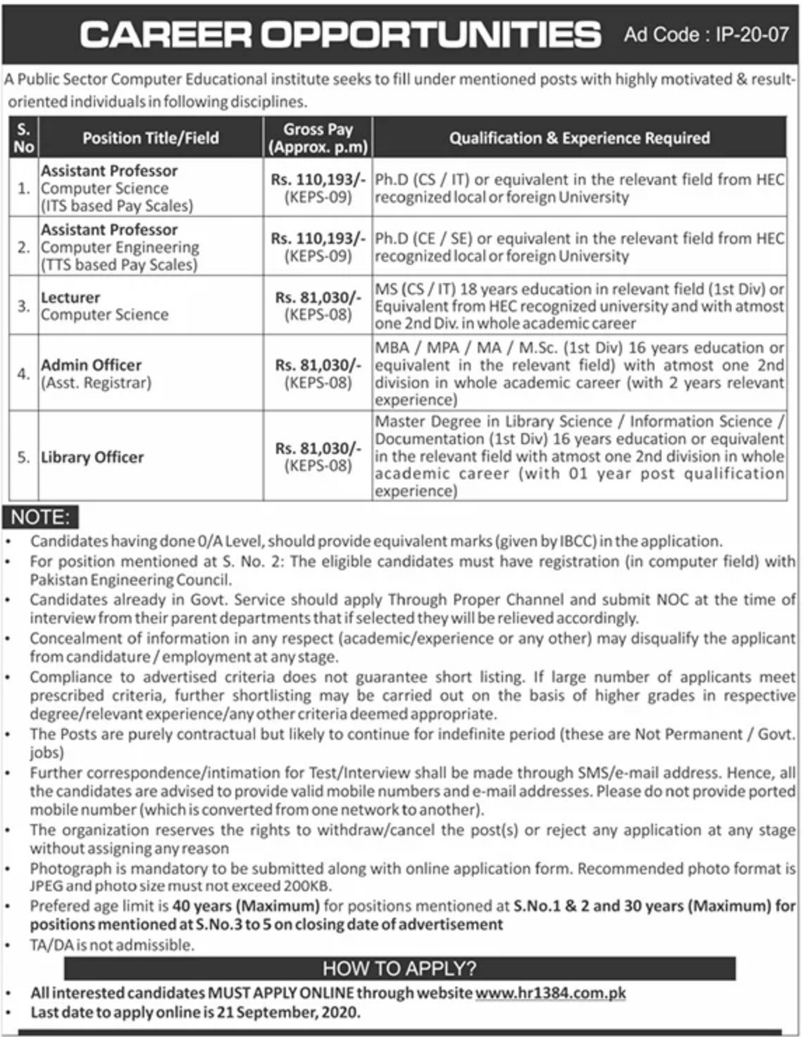 Public Sector Institute hr1384 Jobs September 2020