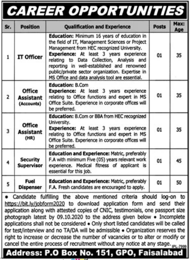 Public Sector Organization P.O.Box 151 Faisalabad Jobs September 2020