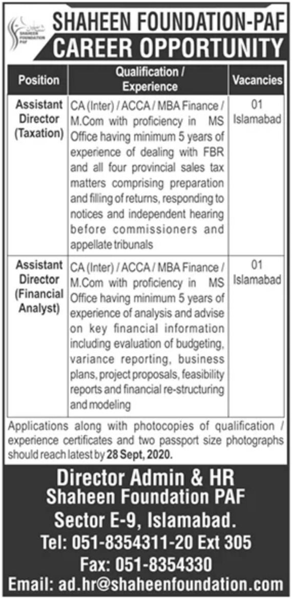 Shaheen Foundation PAF Islamabad Jobs September 2020