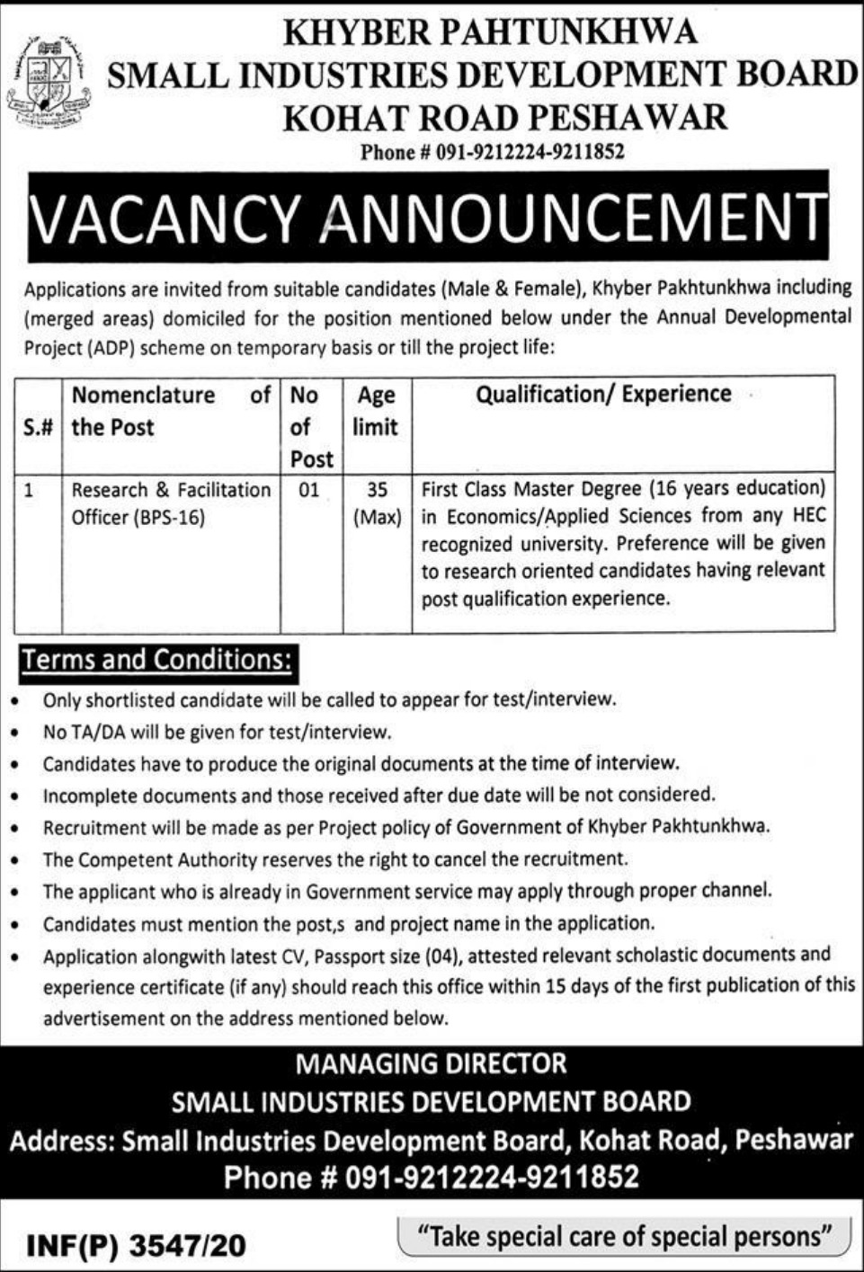 Small Industries Development Board Peshawar Jobs September 2020