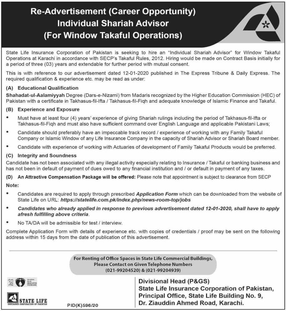 State Life Insurance Corporation of Pakistan Jobs September 2020