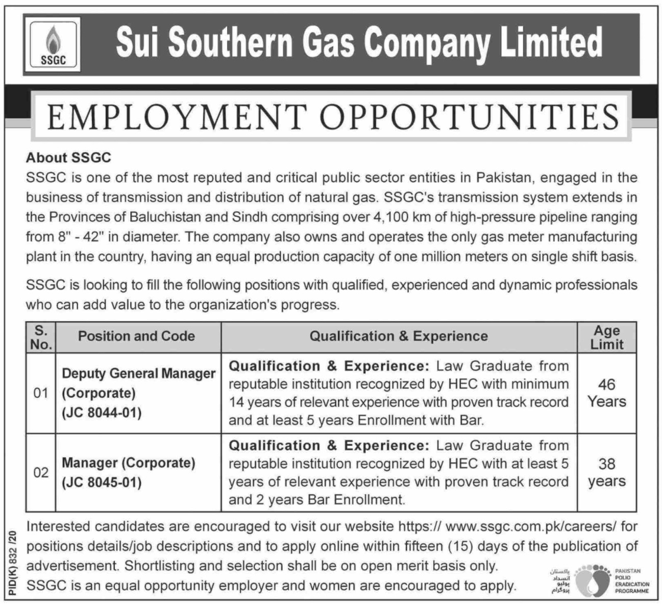 Sui Southern Gas Company Limited SSGC Jobs September 2020