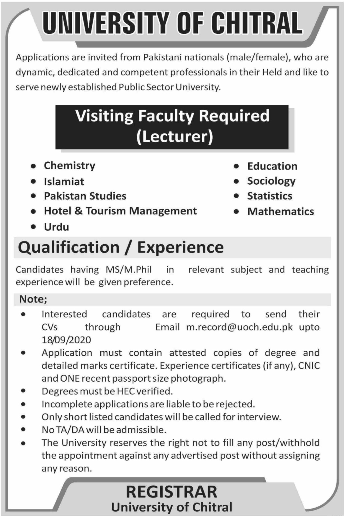 University of Chitral Jobs September 2020