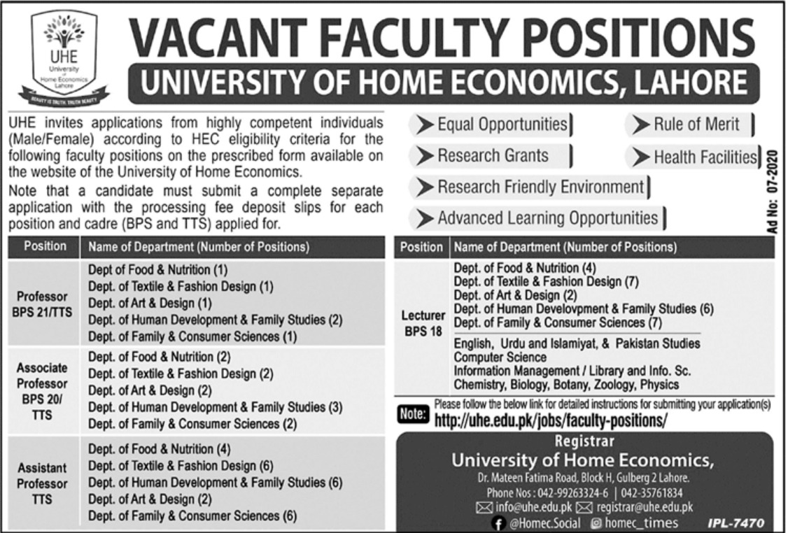 University of Home Economics Lahore Jobs September 2020