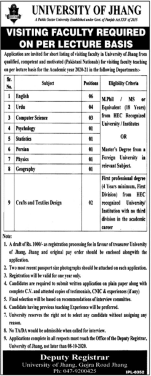 University of Jhang Visiting Faculty Jobs September 2020