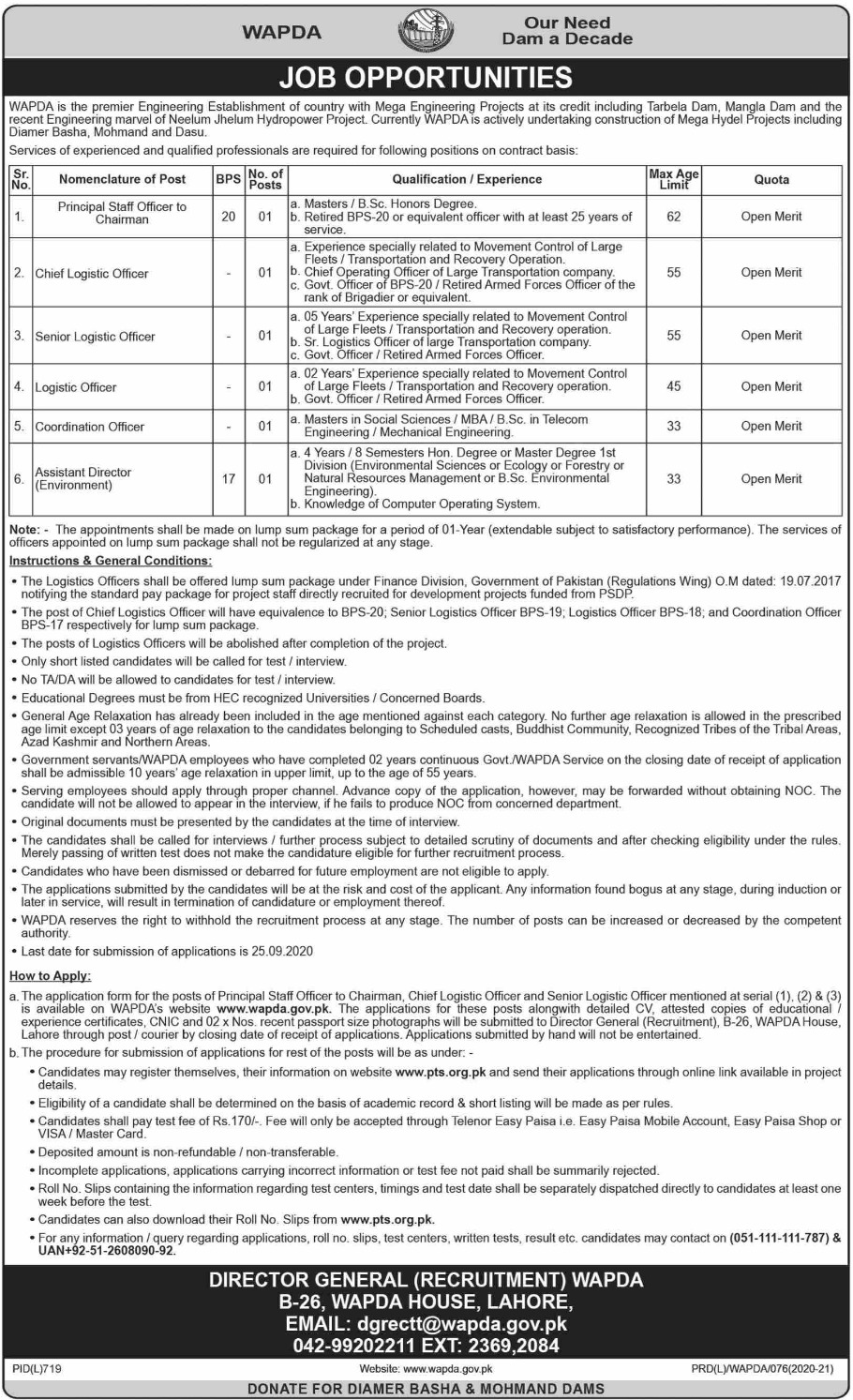 Wapda PTS Jobs September 2020