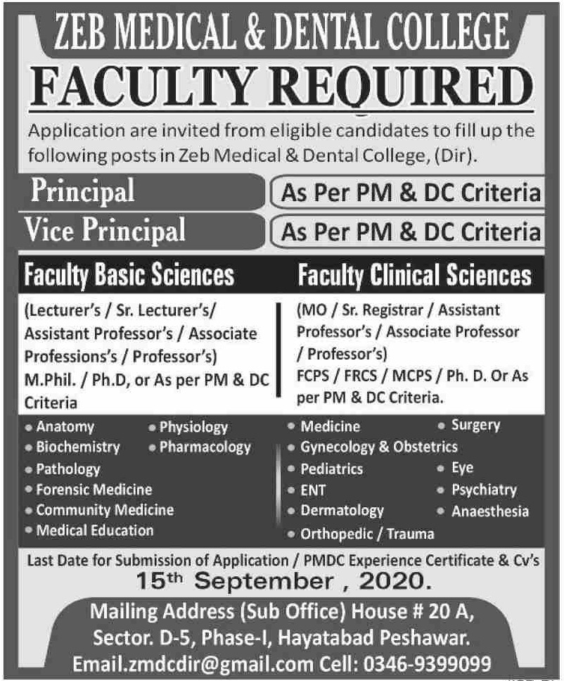 Zeb Medical & Dental College Peshawar Jobs September 2020