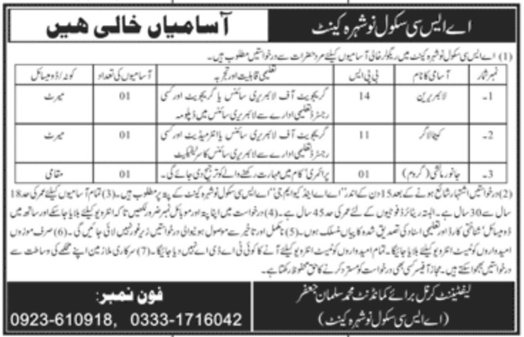 ASC School Nowshera Cantt Jobs October 2020