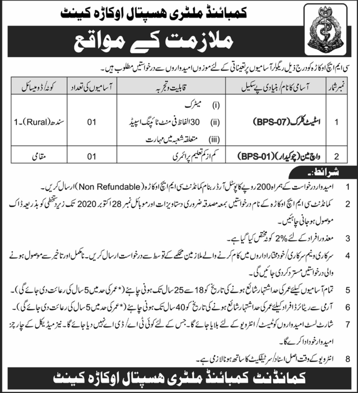 CMH Okara Cantt Jobs October 2020