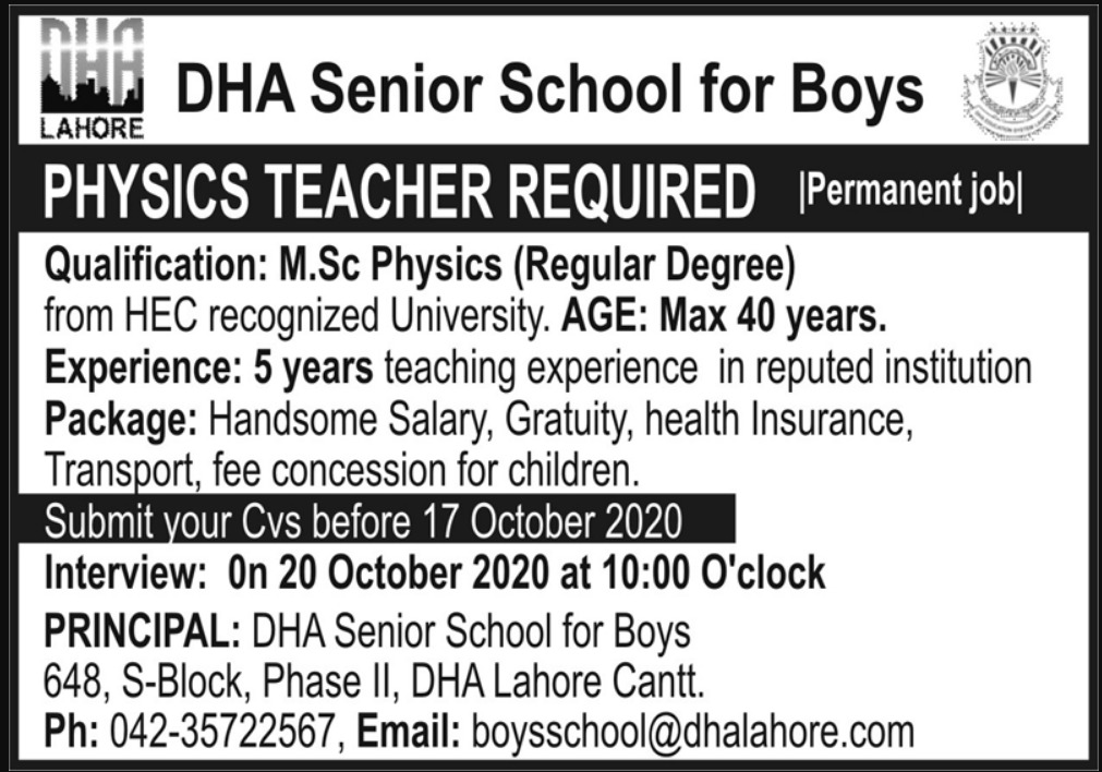 DHA Lahore Jobs October 2002 DHA Senior School for Boys