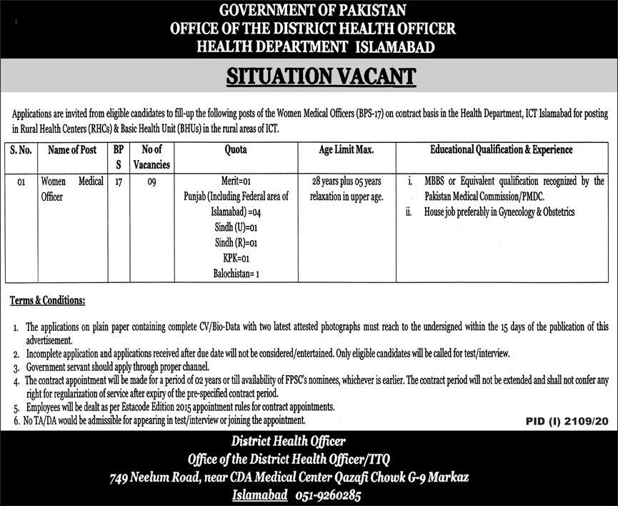 Health Department Islamabad Jobs October 2020