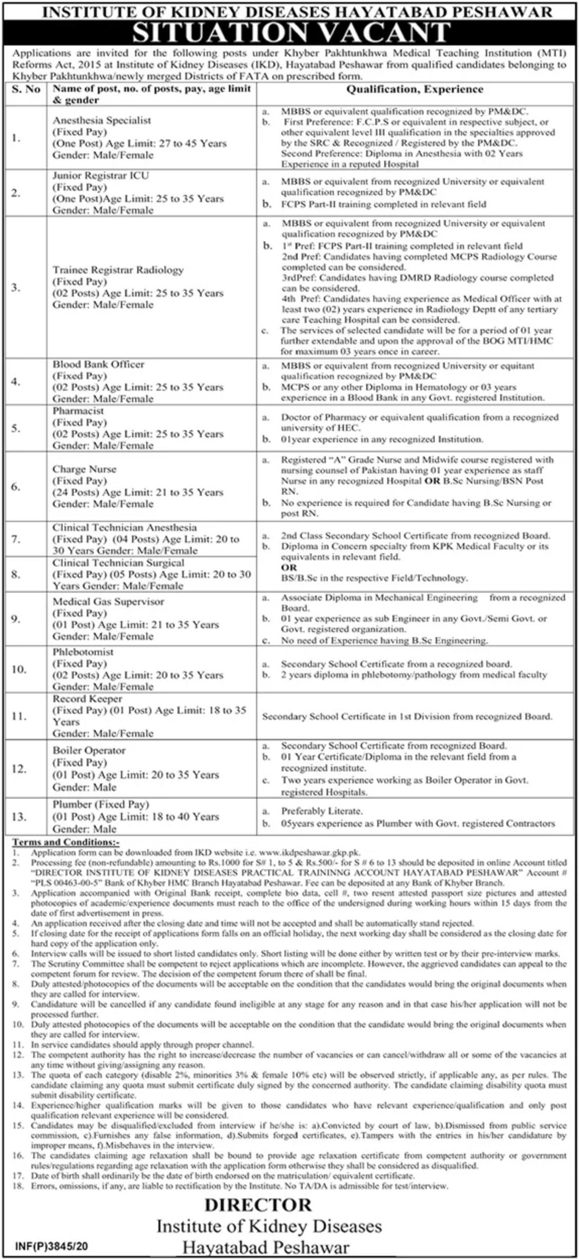 Institute of Kidney Diseases Hayatabad Peshawar Jobs October 2020