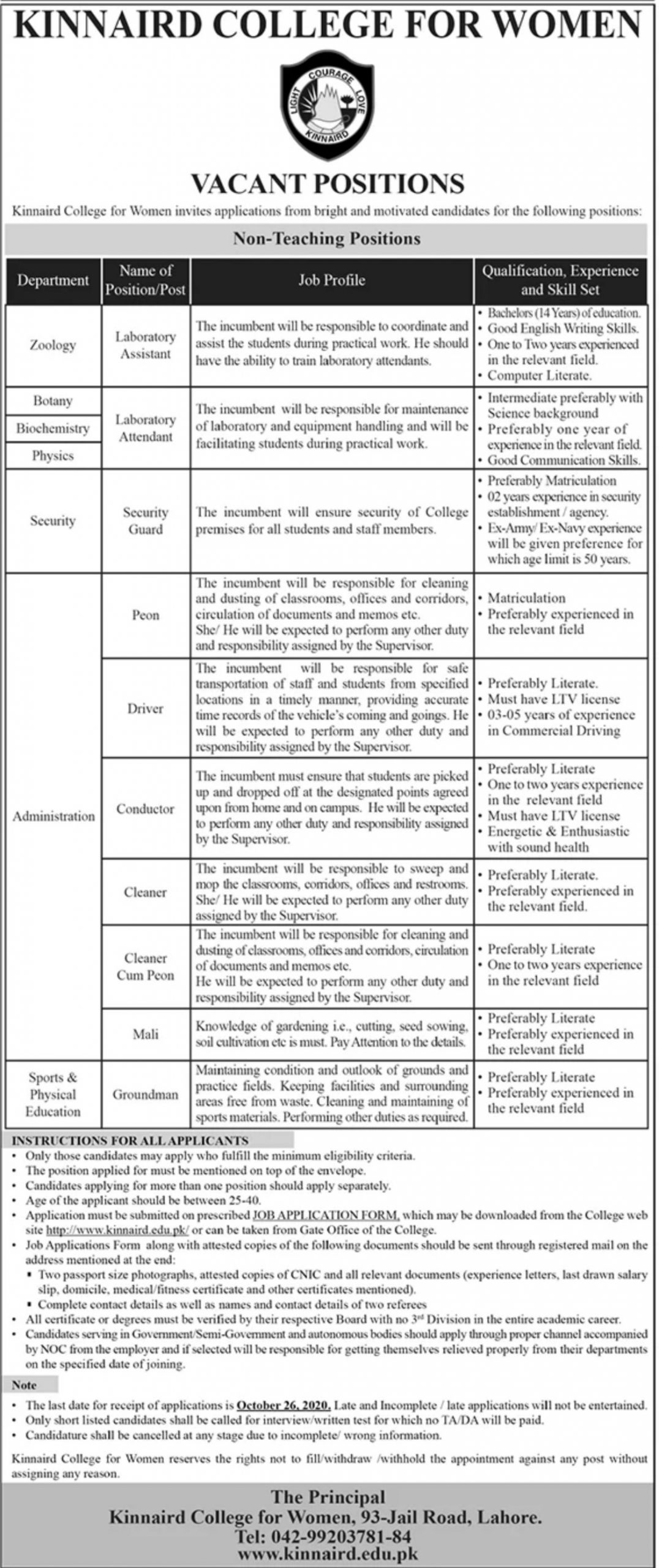 Kinnaird College for Women Jobs October 2020