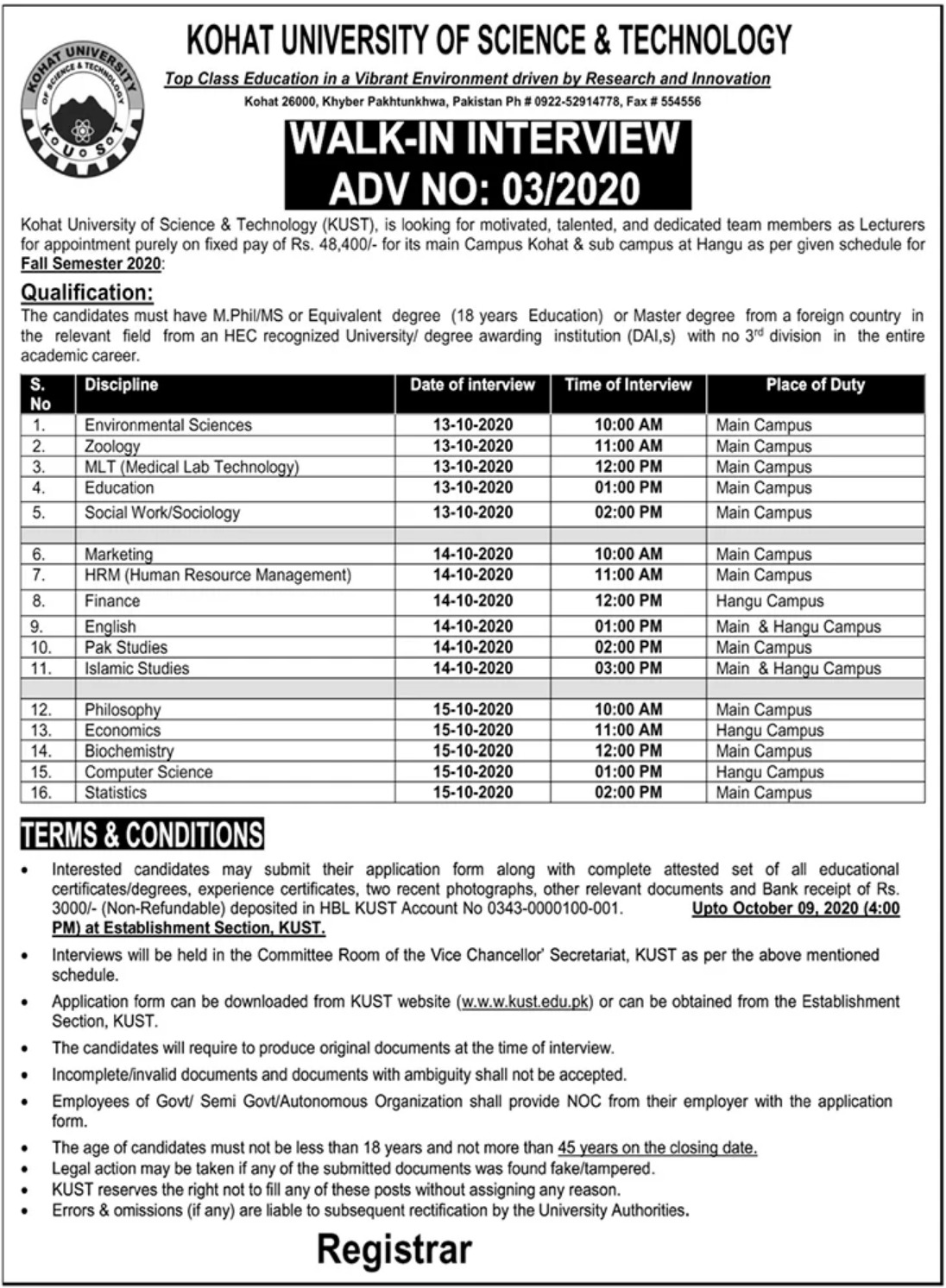 Kohat University of Science & Technology KUST Jobs October 2020