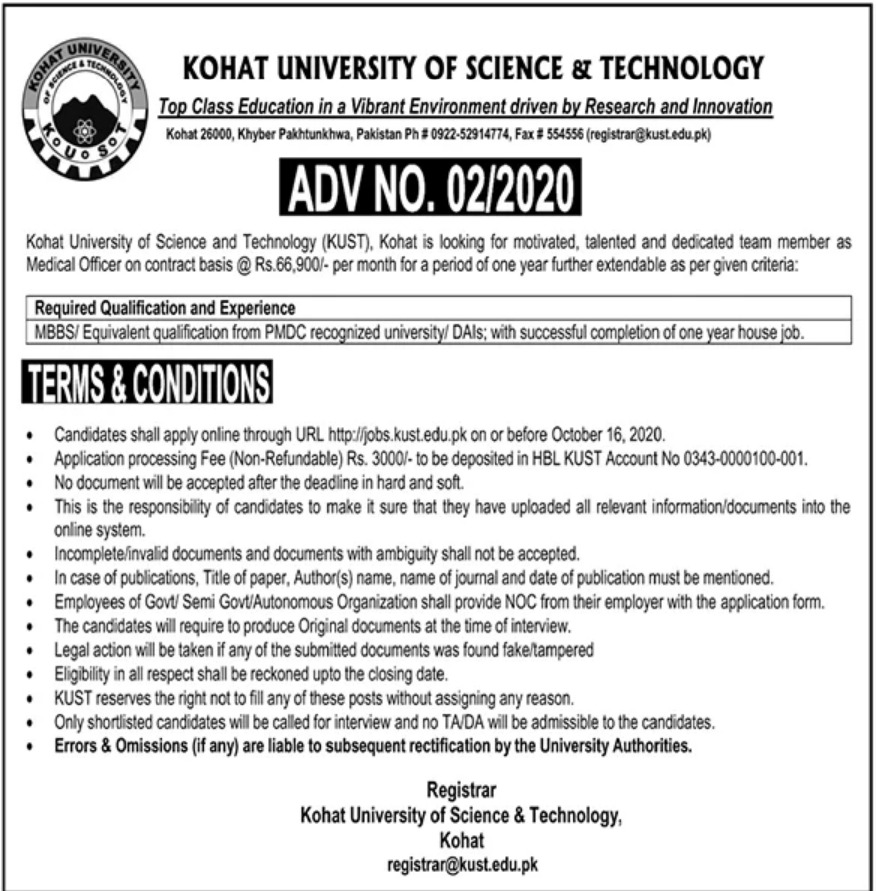 Kohat University of Science & Technology KUST Kohat Jobs October 2020