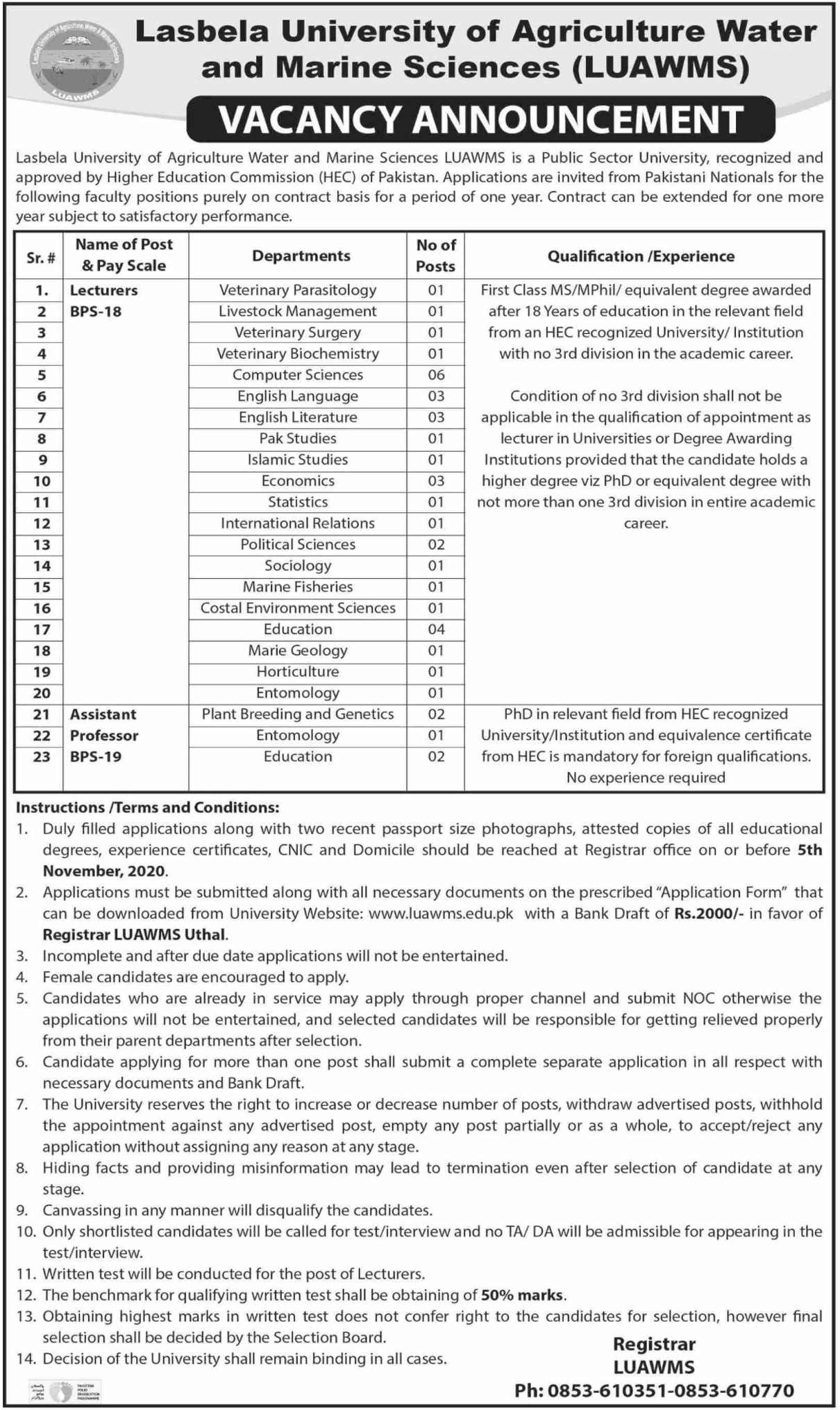 Lasbela University of Agriculture Water & Marine Sciences Jobs October 2020