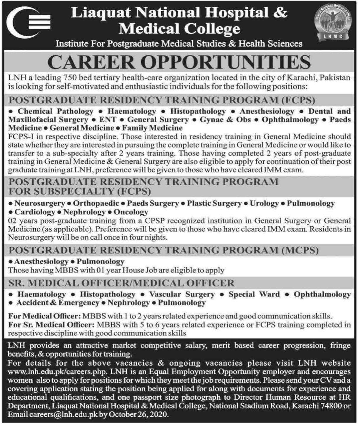 Liaquat National Hospital & Medical College Karachi Jobs October 2020