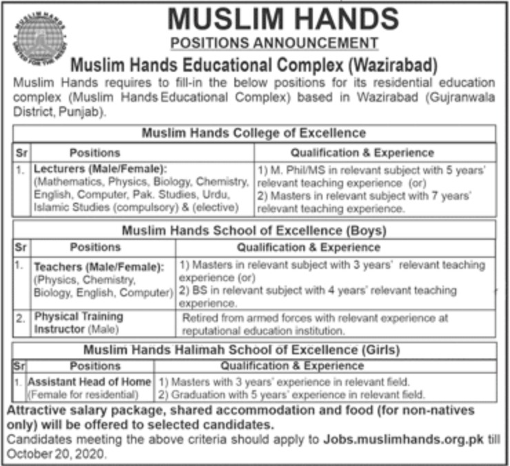 Muslim Hands Educational Complex Wazirabad Jobs October 2020