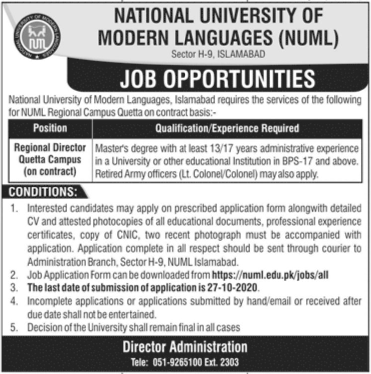 National University of Modern Languages NUML Jobs October 2020