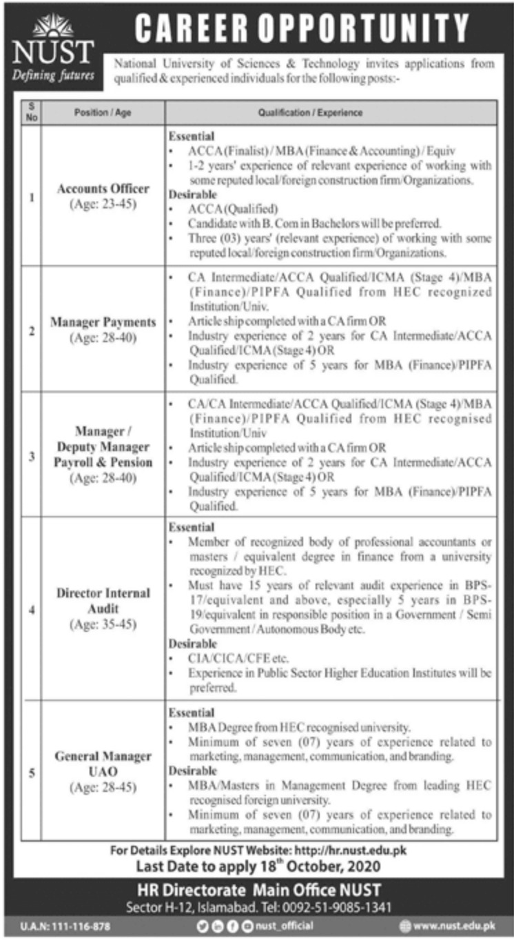 National University of Sciences & Technology NUST Jobs October 2020