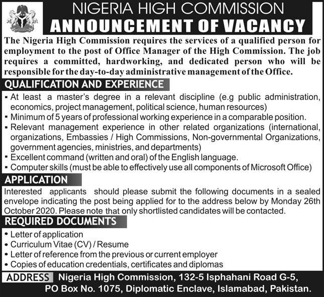 Nigeria High Commission Jobs October 2020