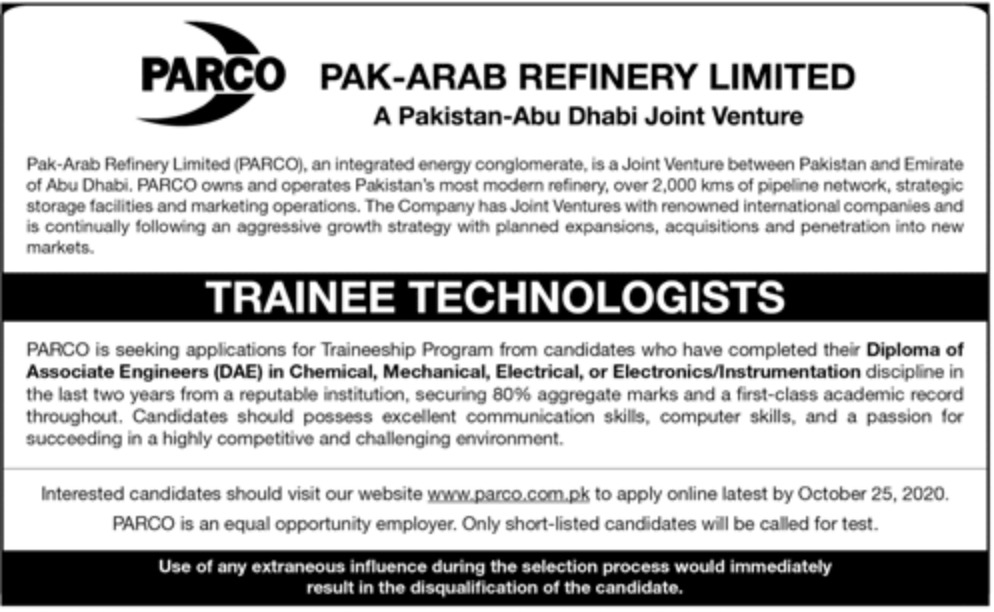 PARCO Pak Arab Refinery Limited Jobs October 2020