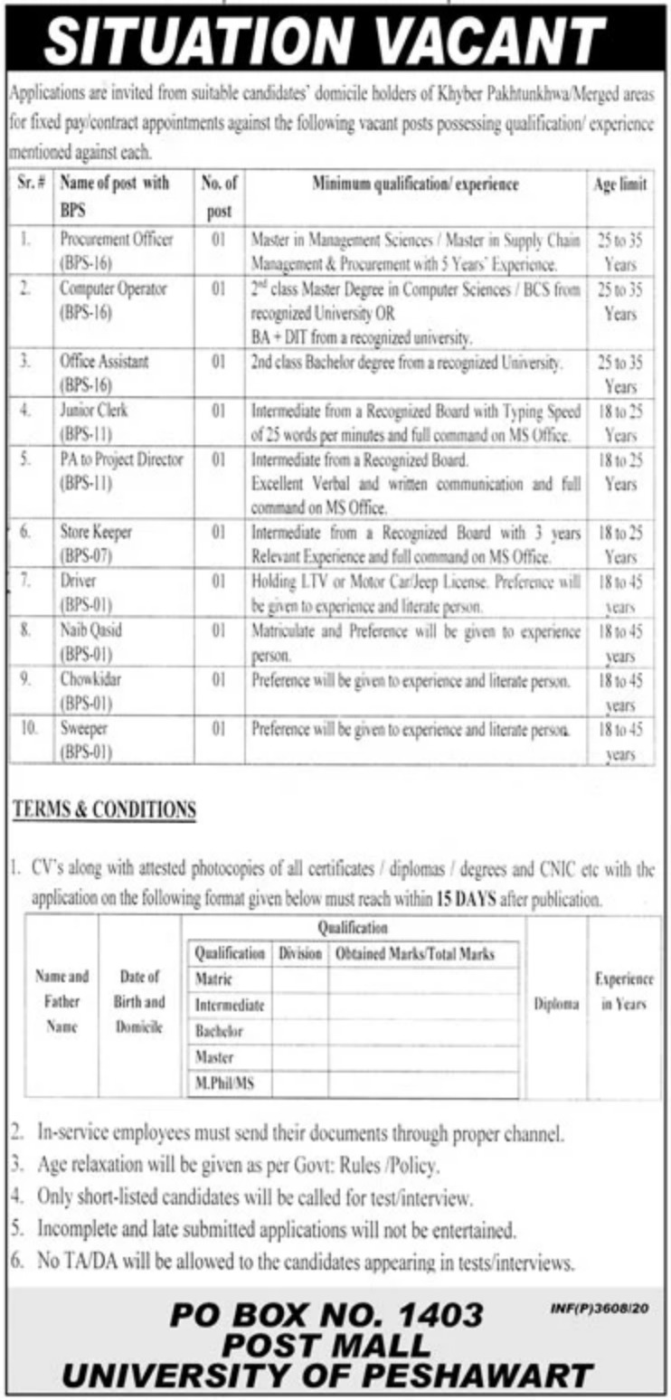 Public Sector Organization P.O.Box 1403 Peshawar Jobs October 2020