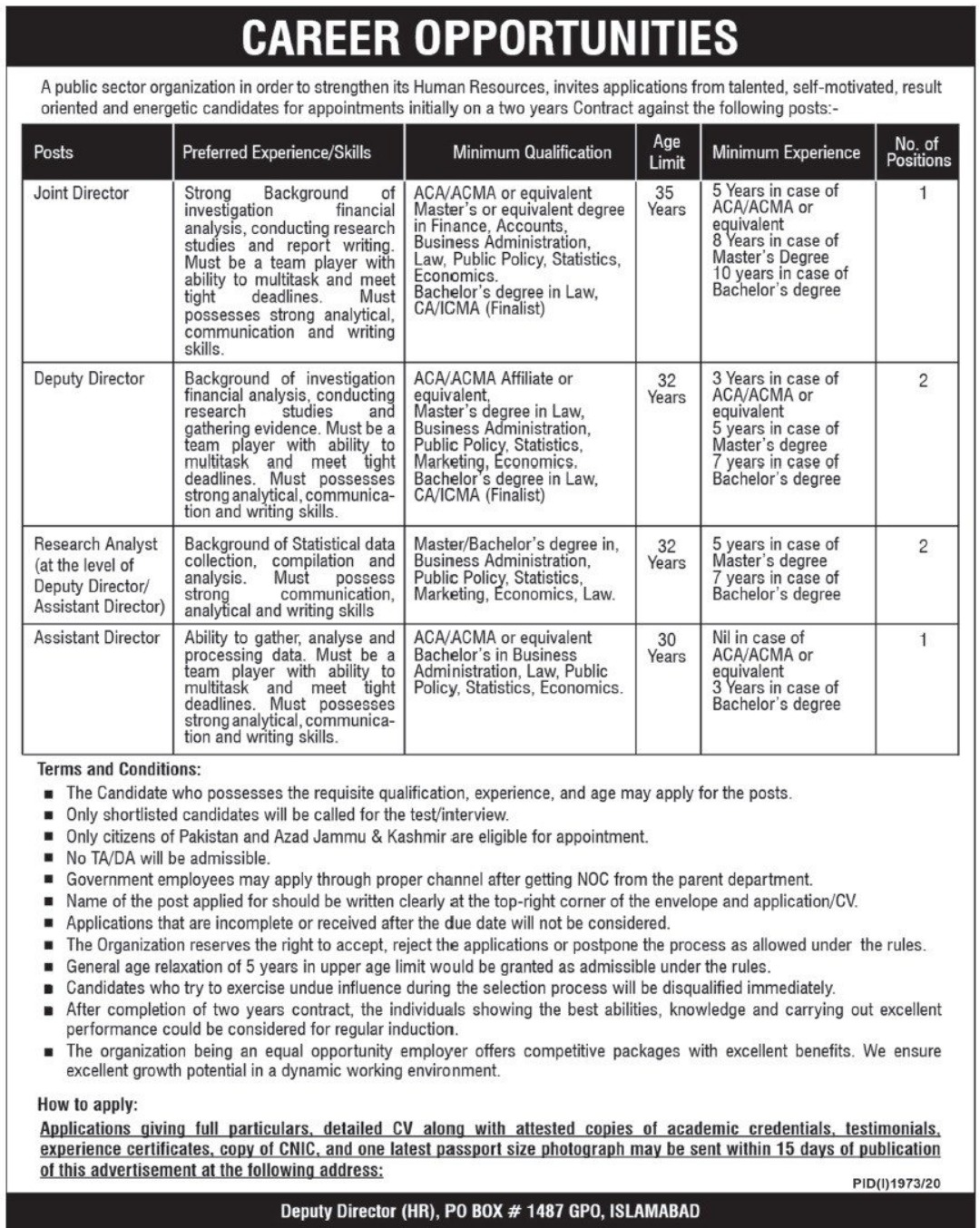 Public Sector Organization P.O.Box 1487 Islamabad Jobs October 2020