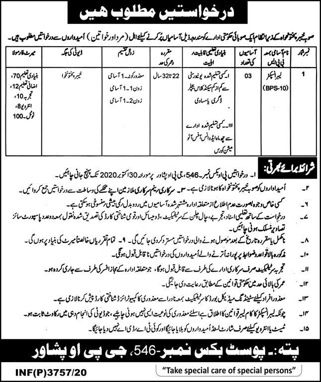 Public Sector Organization P.O.Box 546 Peshawar Jobs October 2020